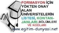Üniversitelerin Formasyon Veren Bölümleri ve Kontenjanları 2013-2014