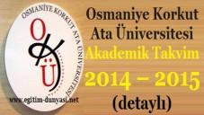 Osmaniye Üniversitesi Akademik Takvim 2014 – 2015 (detaylı)