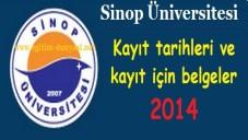 Sinop Üniversitesi Kayıt tarihleri ve kayıt belgeleri 2014
