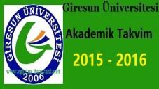 Giresun Üniversitesi Akademik Takvim 2015 2016