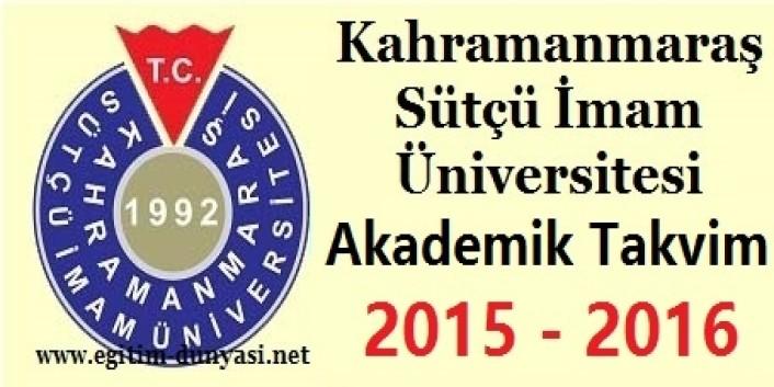 Kahramanmaraş Sütçü İmam Üniversitesi Akademik Takvim 2015 2016