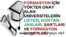 Formasyon Veren Üniversiteler, Şartları ve Ücretleri 2012-2013