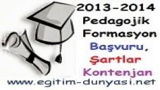Formasyon bölümleri, başvuru, şartlar ve Kontenjan Bilgileri 2014