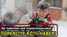 2015 Yarıyıl Tatilinde Öğrencilere Kötü Hava Haberi