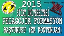 Siirt Üniversitesi 2015 Şubat Formasyon Başvurusu (Bahar Dönemi)