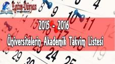 2015 2016 Üniversitelerin Akademik Takvim Listesi