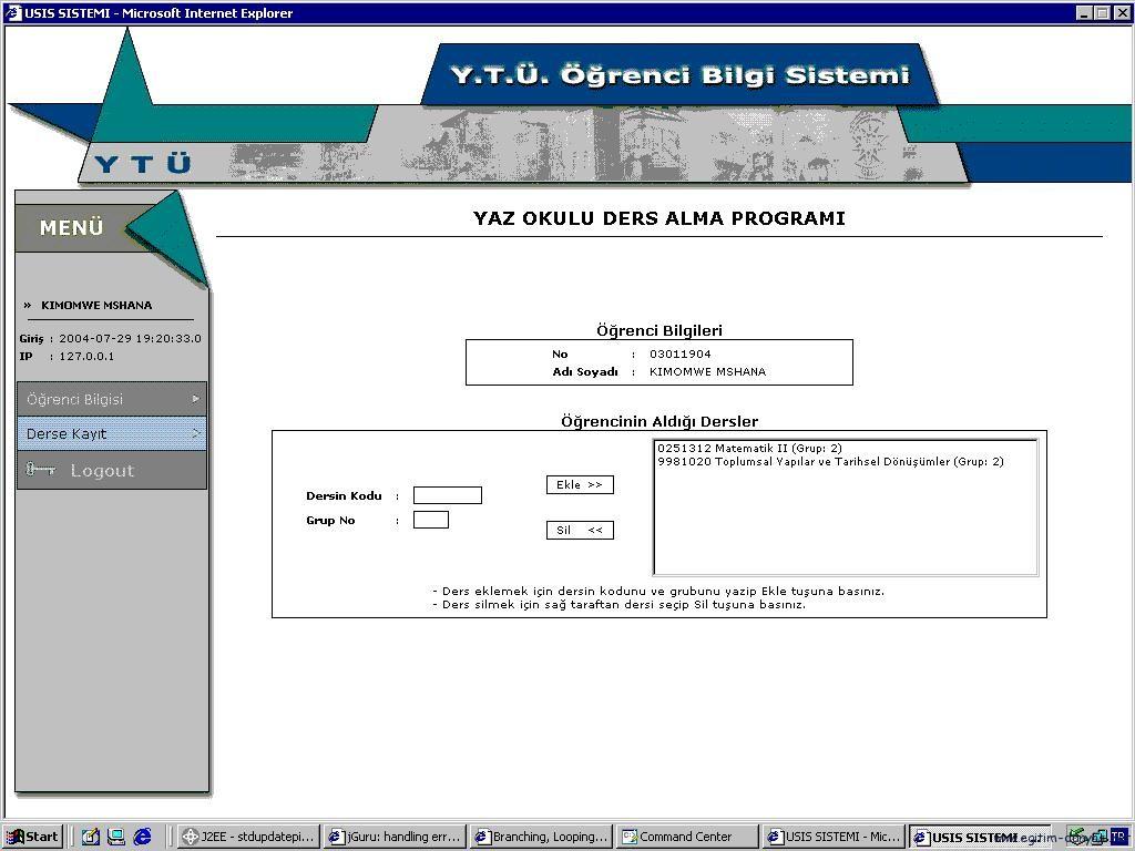 Yıldız teknik  (ytü) USIS Ders kayıt kılavuzu ve sorunları-çözümleri 6